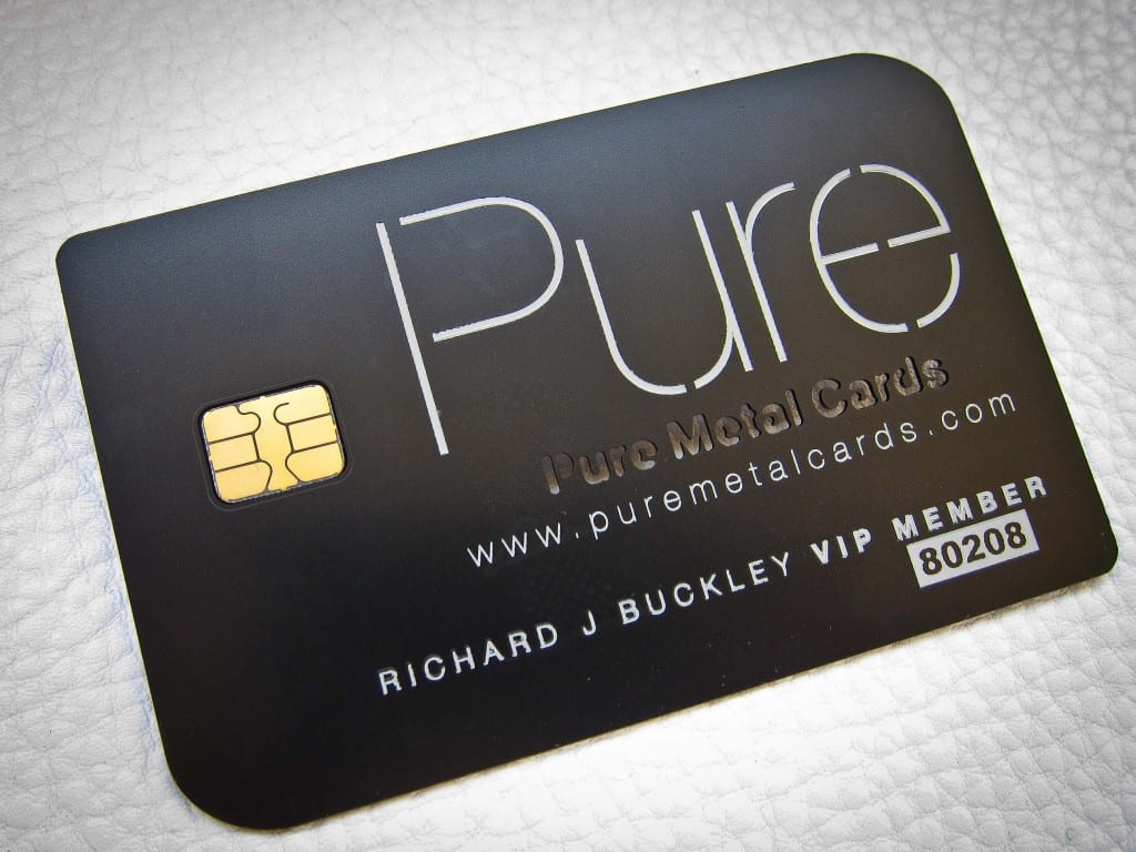 Matte black metal VIP membership card by Pure Metal Cards
