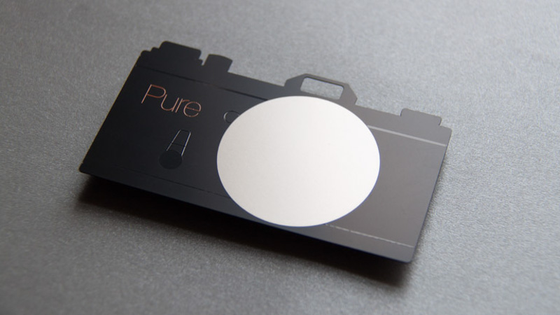 Matte black photographer card by Pure Metal Cards