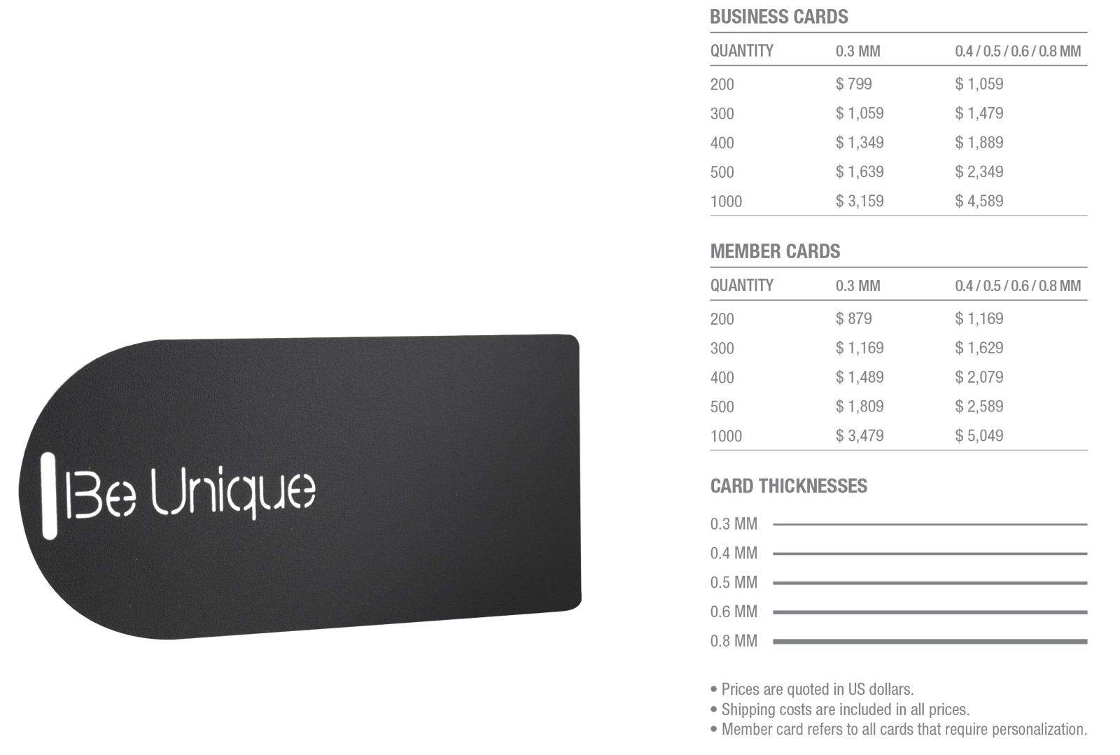Matt-Black-Frosted-Stainless-Steel-Cards-Pricing-Table