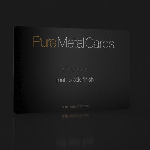 Pure Metal Cards matt black copper business card