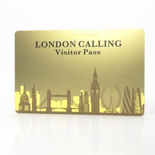 Pure Metal Cards standard brass London Calling visitor card