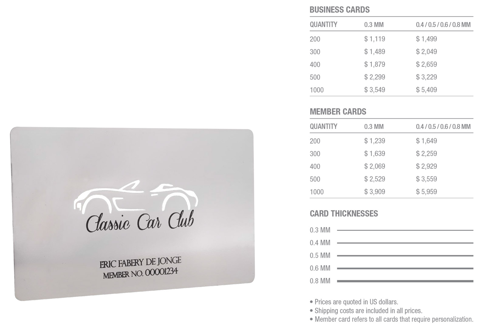 Silver-Plated-Stainless-Steel-Cards-Pricing-Table