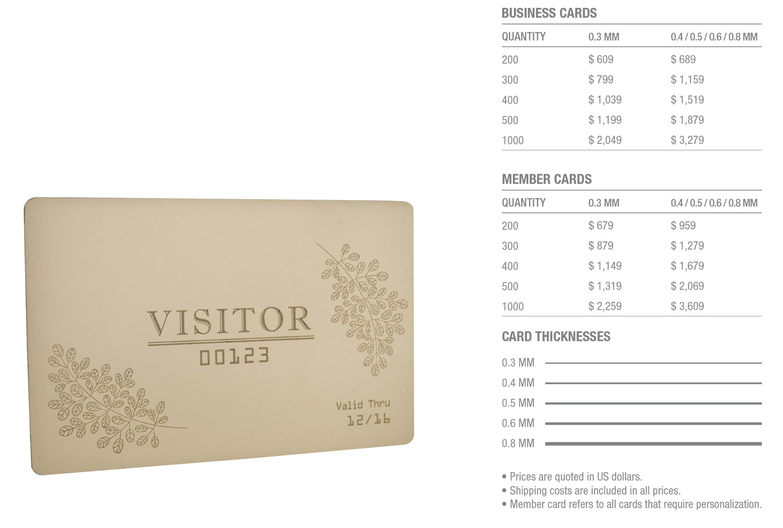 Standard-Brass-(Gold)-Cards-Pricing-Table