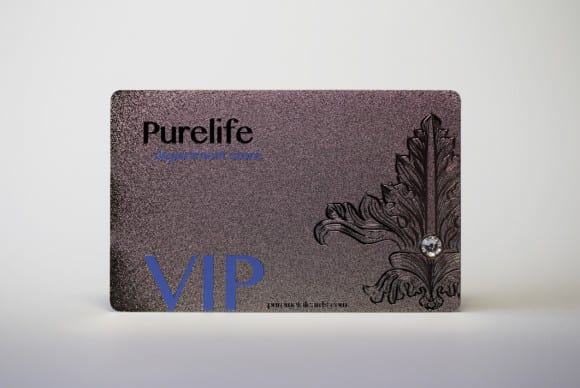 Silver Frosted Stainless Steel Card with swarovski crystal