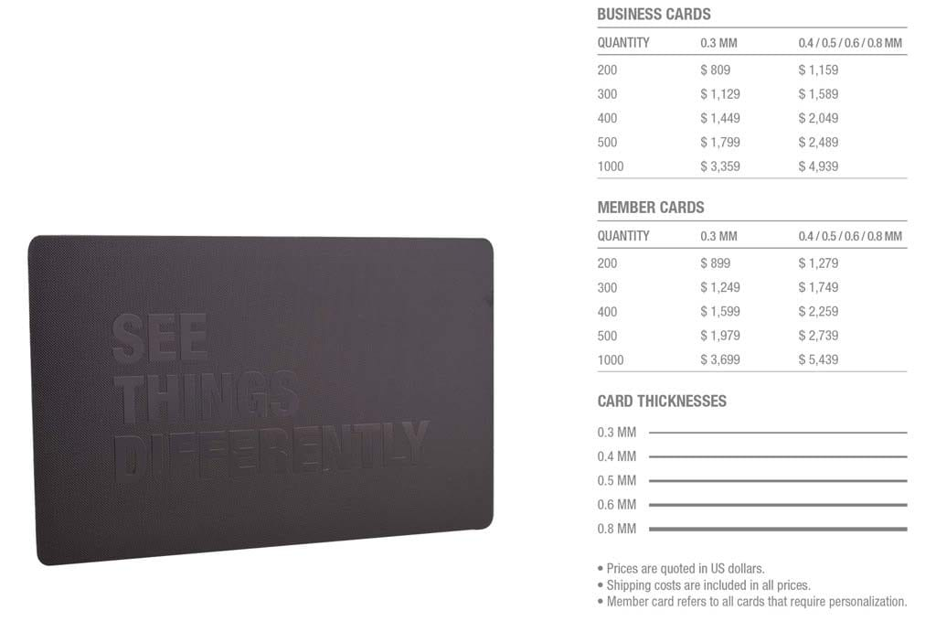 Matt Black Prism Stainless Steel Cards