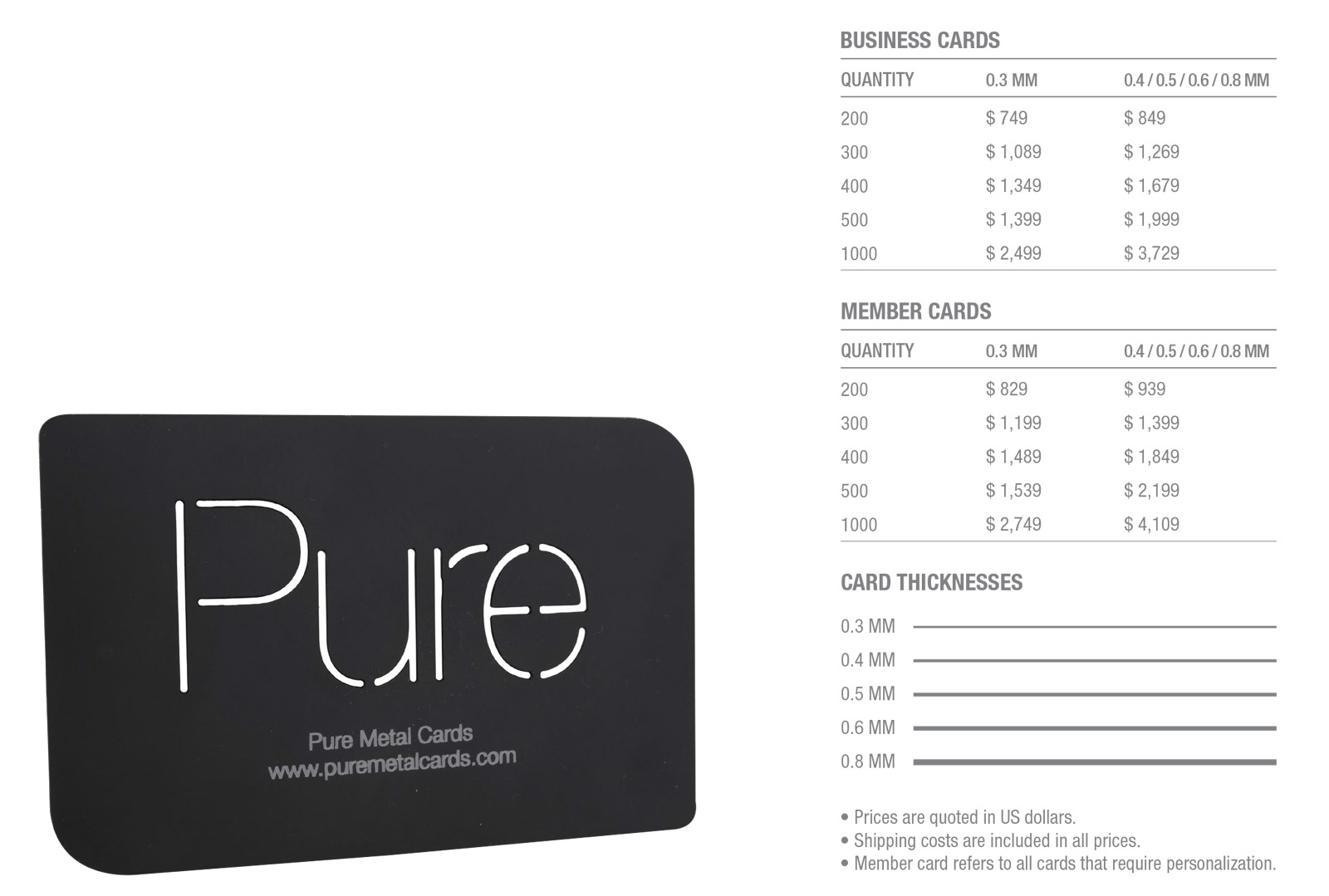 Matt-Black-Stainless-Steel-Cards-Pricing-Table