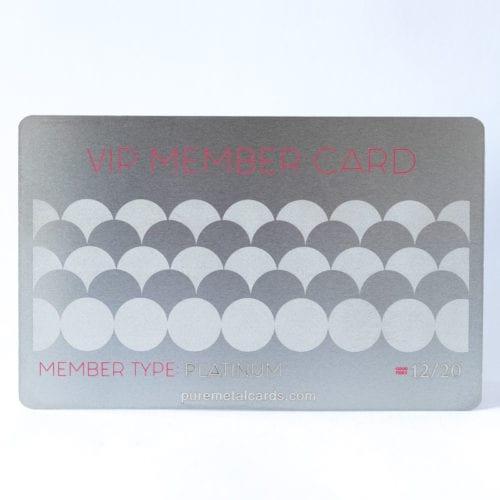Pure Metal Cards standard stainless steel VIP Member card