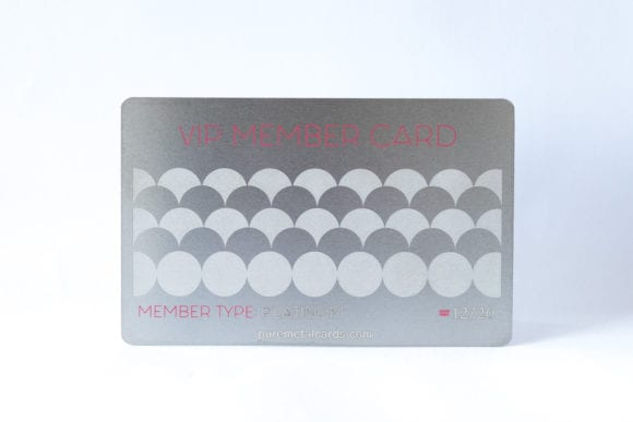 Pure Metal Cards standard stainless steel VIP Member card