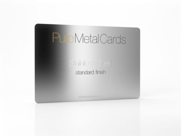 Pure Metal Cards standard stainless steel business card