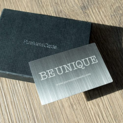 Pure Metal Cards - vertical brushed steel business card