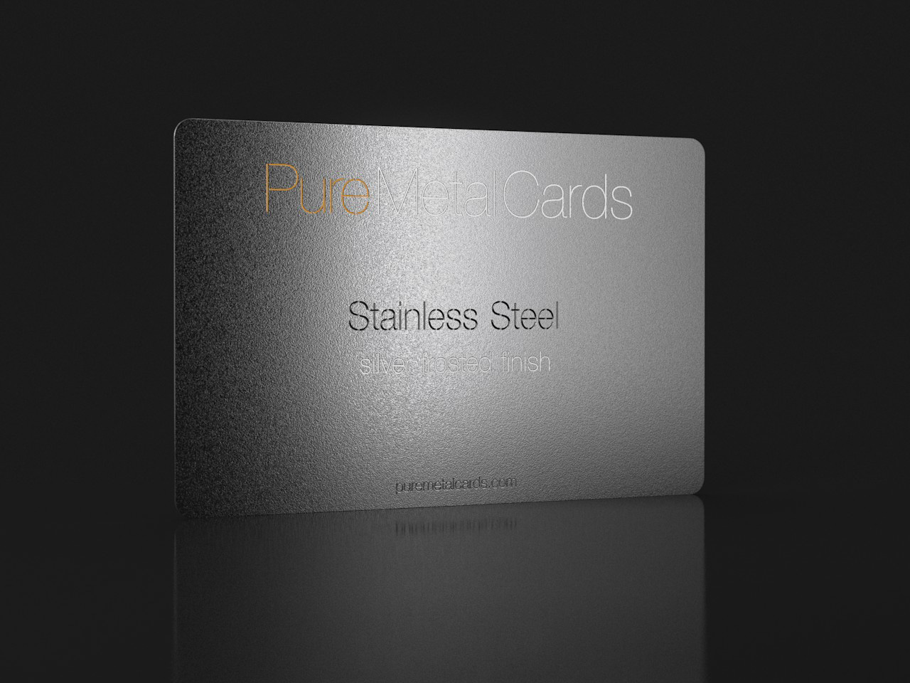 Silver frosted stainless steel cards pure metal cards frosted stainless steel business card reheart Gallery