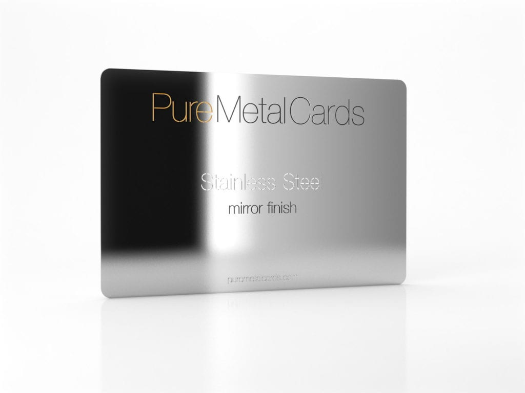 Pure Metal Cards mirror stainless steel card