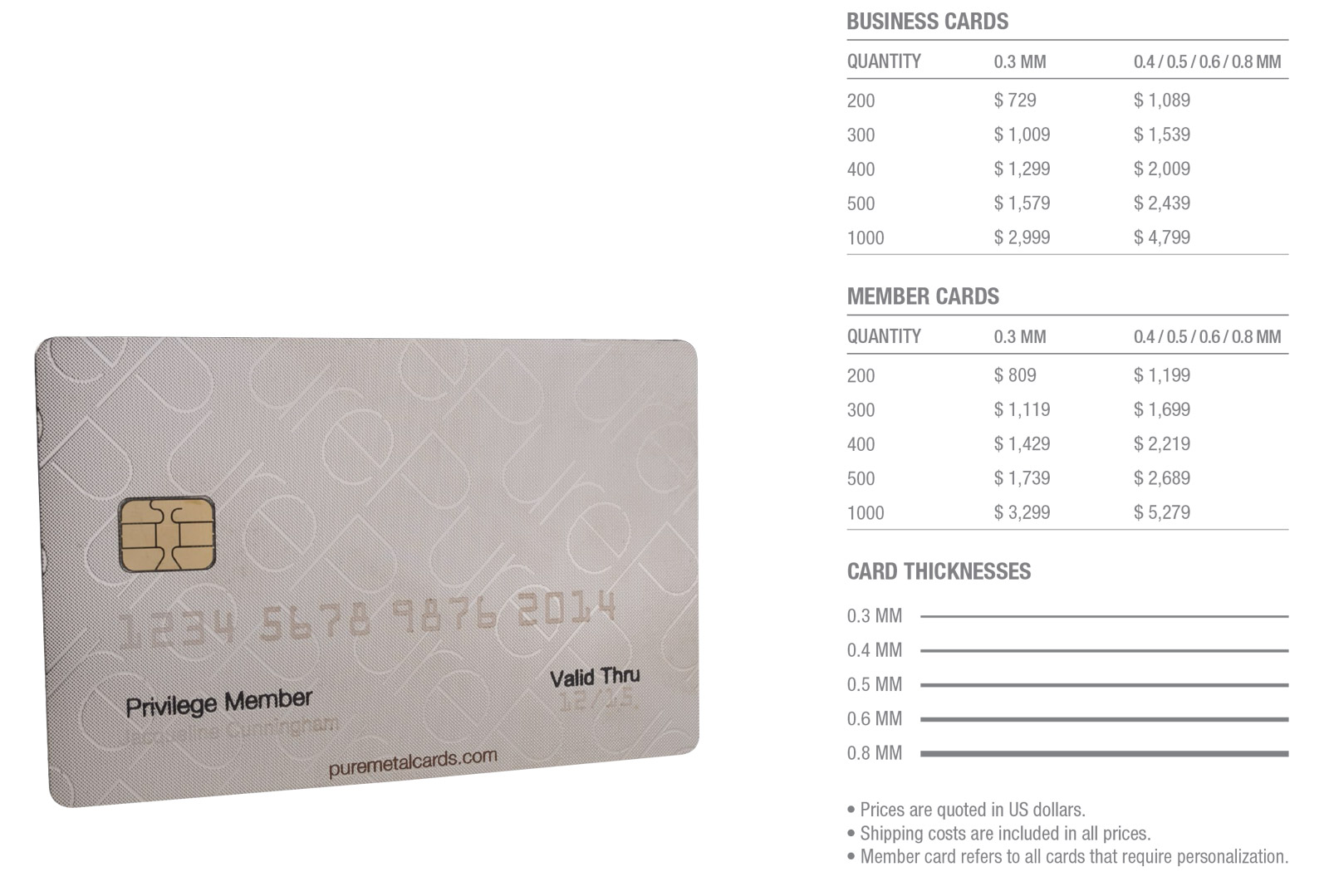 pure-metal-cards-silver-stainless-steel-cards-pricing-table