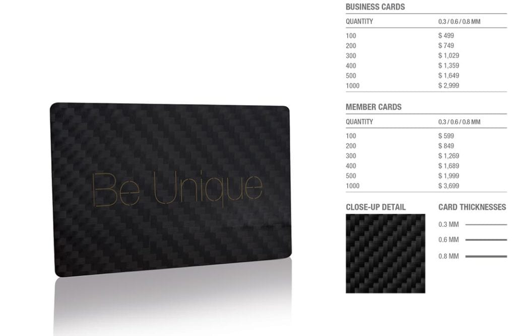 Carbon Fiber (Matt Finish) Cards