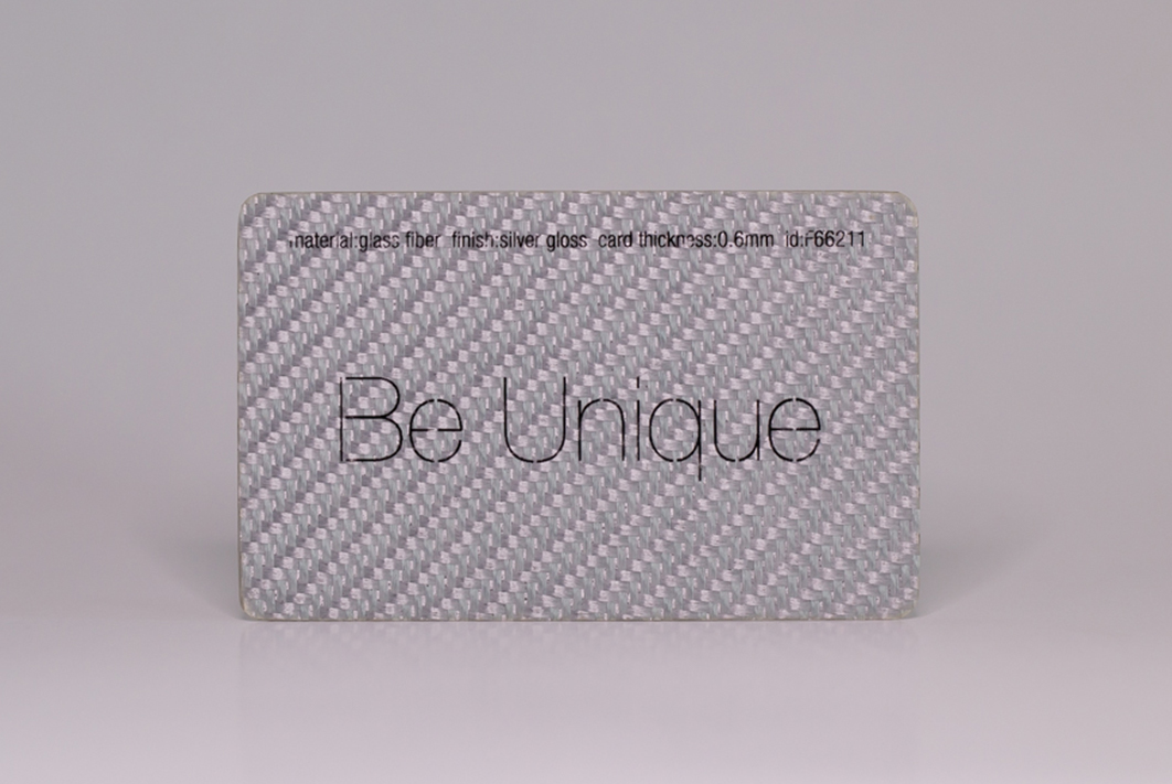 glass fiber silver business cards