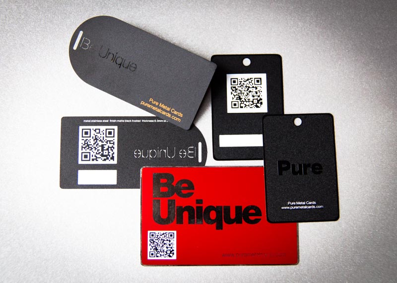 Pure Metal Cards - metal hang tag and QR codes