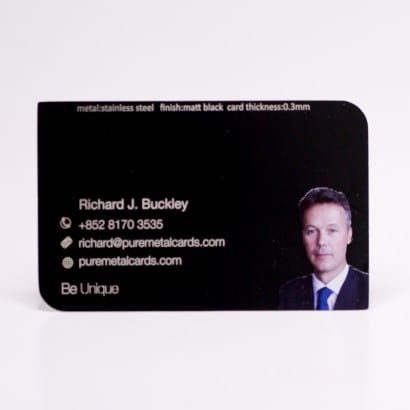 Pure Metal Cards black photo metal business cards