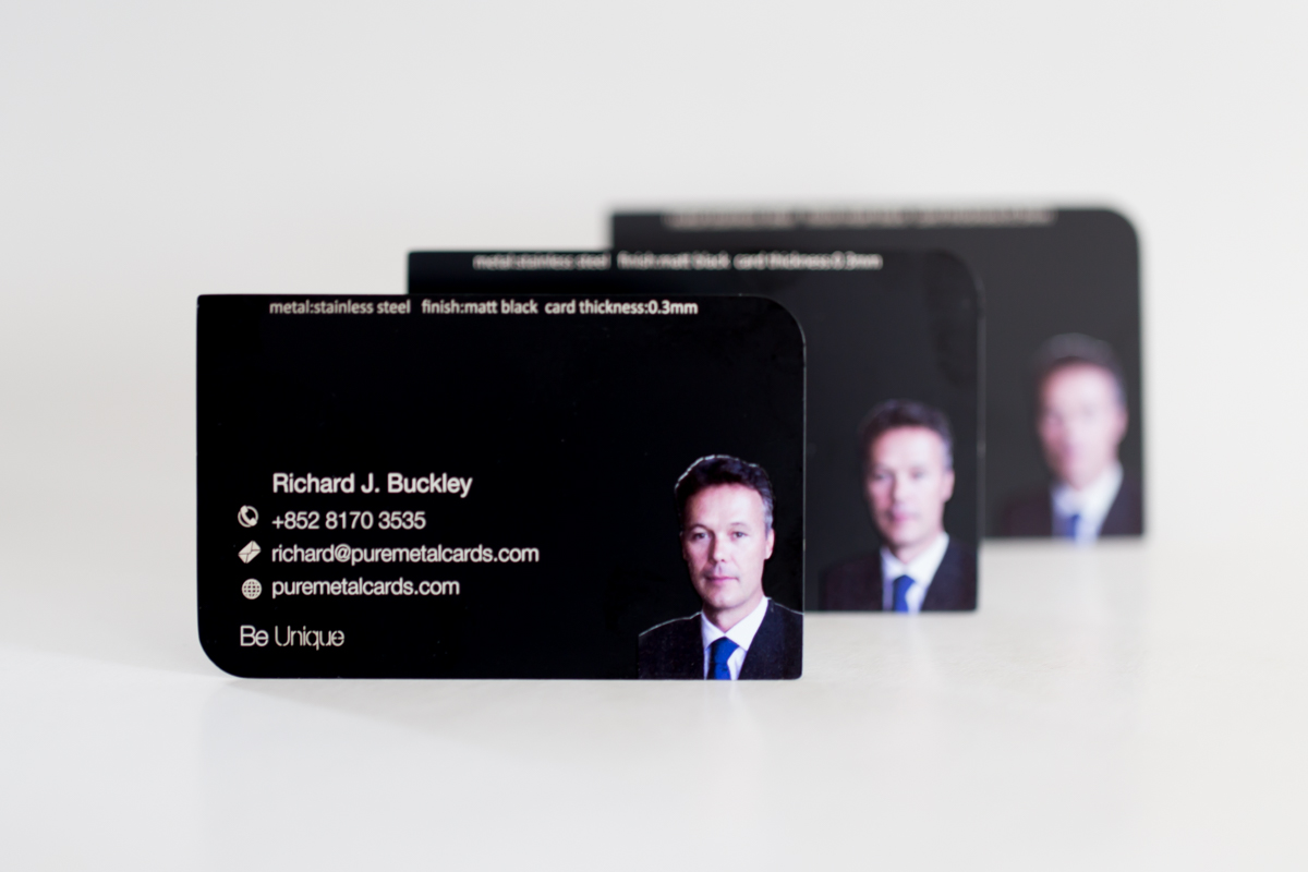 Be creative with photo metal business cards pure metal cards black photo business cards reheart Images