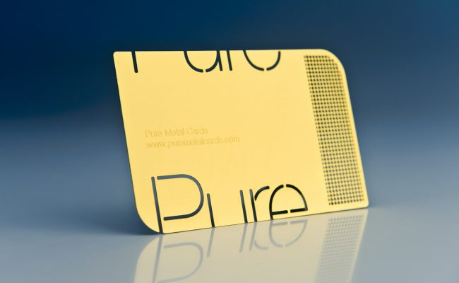 Pure metal cards be unique pure metal cards brass gold metal business cards reheart Gallery