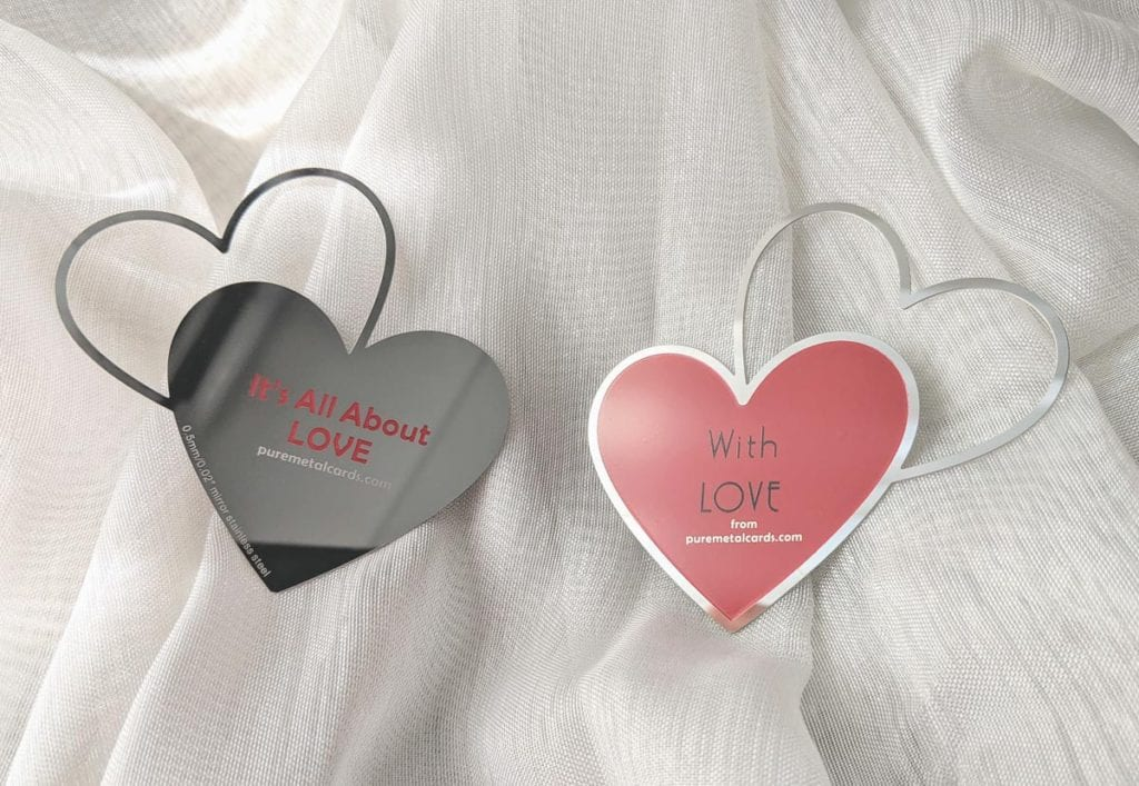 Pure Metal Cards two hearts stainless steel mirror card