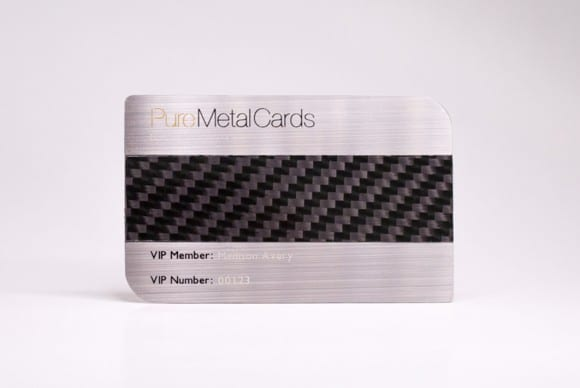 Brushed Stainless Steel+Carbon Fiber Business Cards