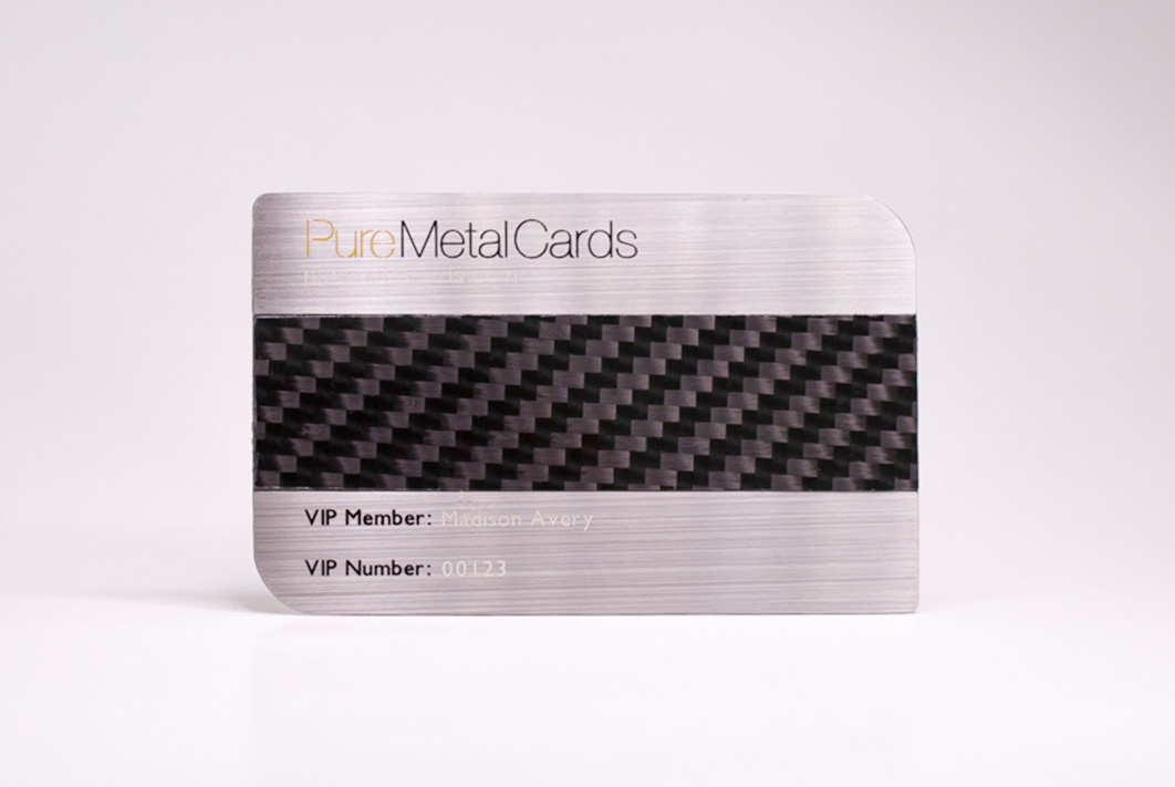 Brushed Stainless Steel + Carbon Fiber Business Cards