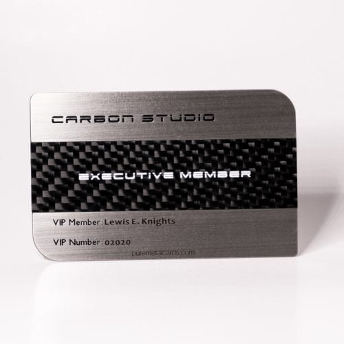 Pure Metal Cards dual finish steel carbon fiber card