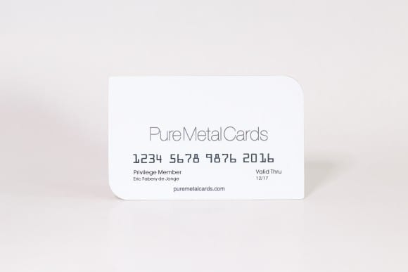 Pure Metal Cards white stainless steel business card