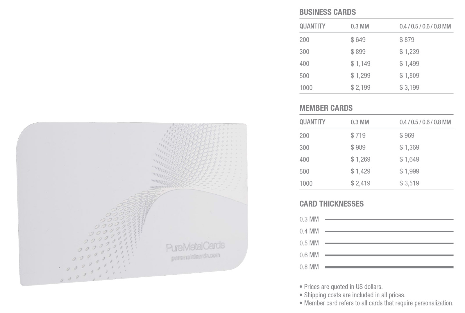 White-Stainless-Steel-Cards---Pricing-Table