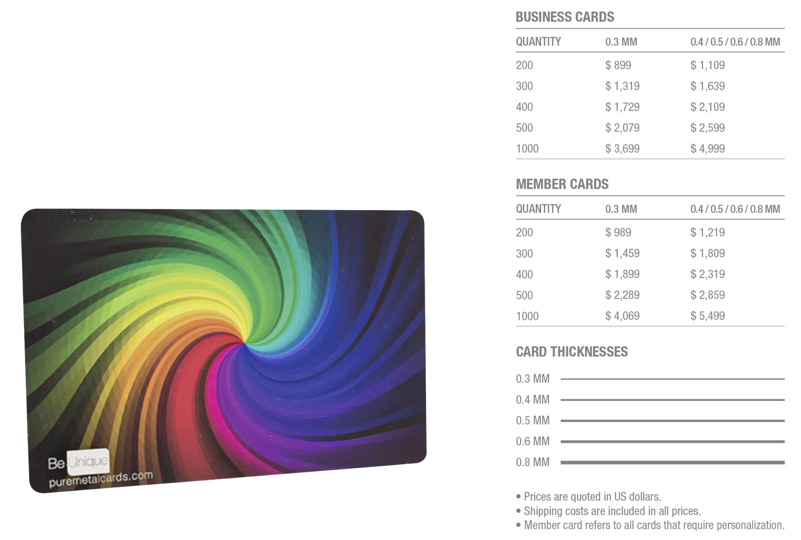 Stainless steel full color business cards pure metal cards color stainless steel cards pricing standard stainless steel business cards in full color reheart Gallery