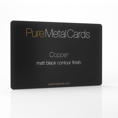 Pure Metal Cards matt black contour copper business card