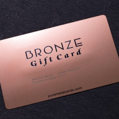 bronxe metal card by Pure Metal Cards