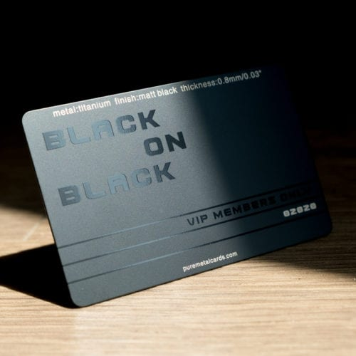 Pure Metal Cards - matt black titanium card
