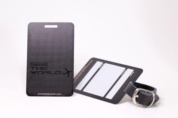 Pure Metal Cards matt black prism steel luggage tags