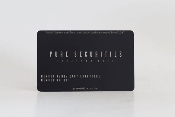 Matt black titanium business cards