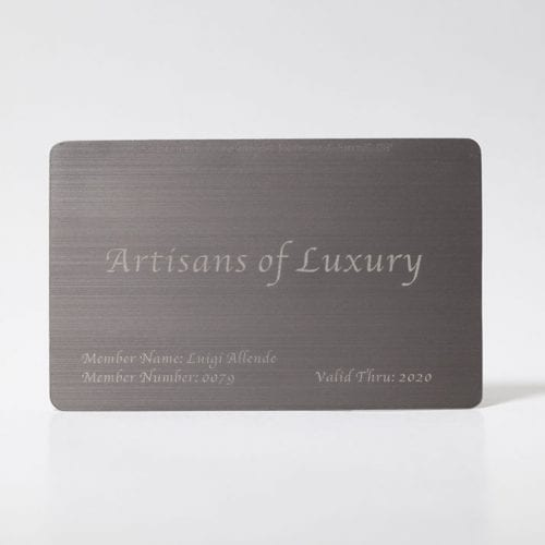 brushed titanium business cards