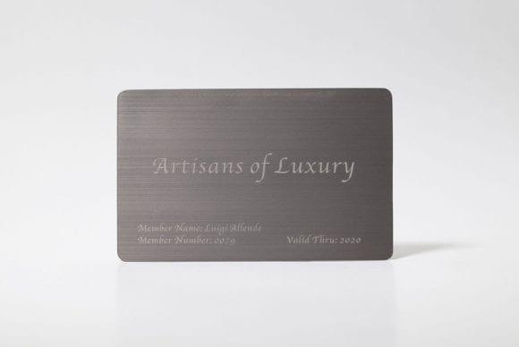 brushed titanium business cards
