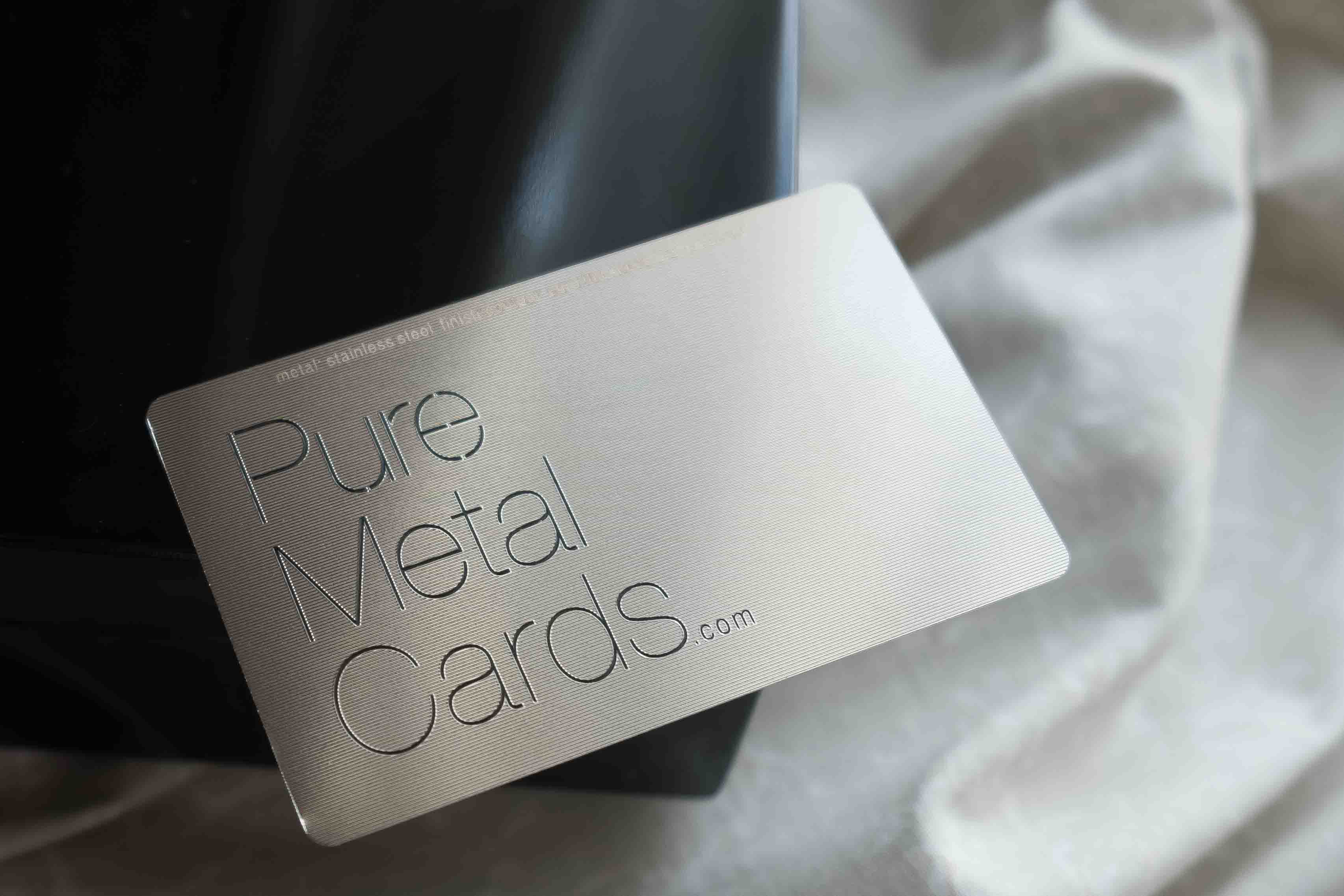 silver contour stainless steel business cards
