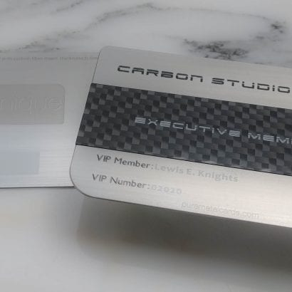 Pure Metal Cards dual finish metal + carbon fiber member card