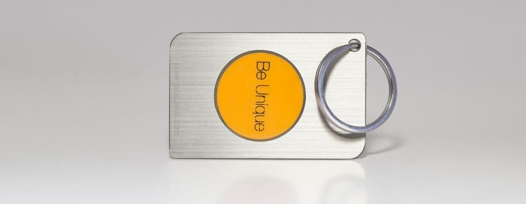 Pure Metal Cards brushed stainless steel keychain NFC card