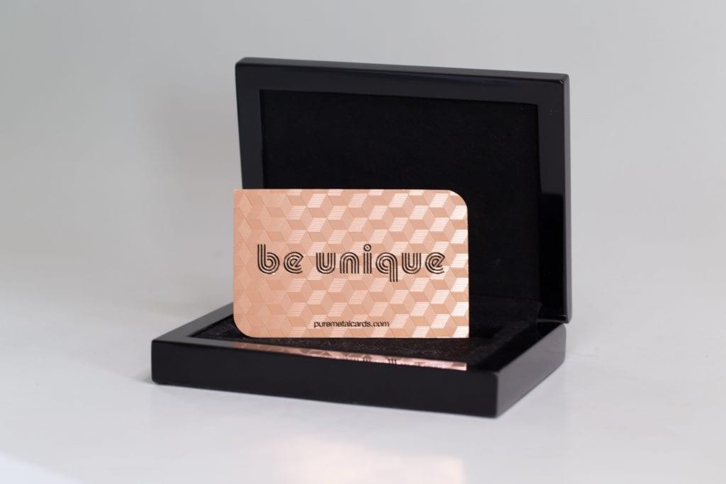 Pure Metal Cards oak presentation case and metal card