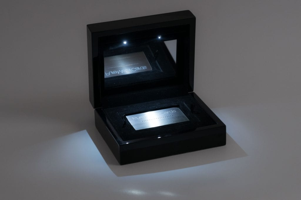Pure Metal Cards deluxe oak presentation case
