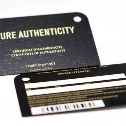 Pure Metal Cards Certificate of Authenticity Cards