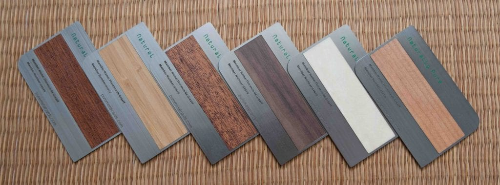 Pure Metal Cards brushed steel wood cards