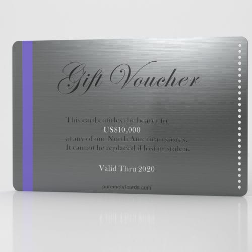 Pure Metal Cards Brushed Gunmetal Gray Stainless Steel Gift Voucher Card
