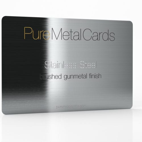 Pure Metal Cards brushed gun metal gray stainless steel card