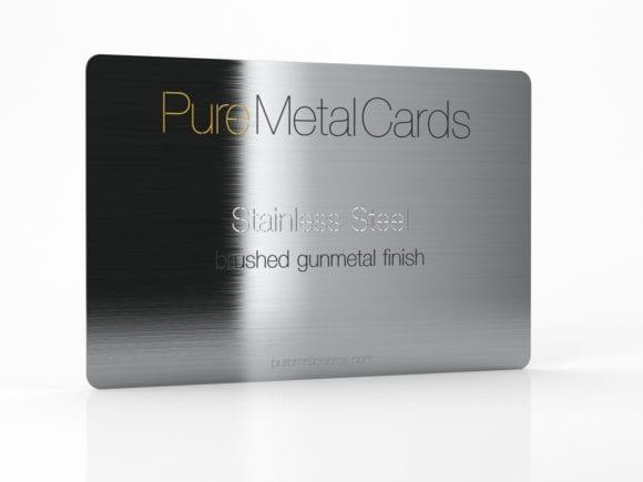 Pure Metal Cards brushed gun metal gray stainless steel card