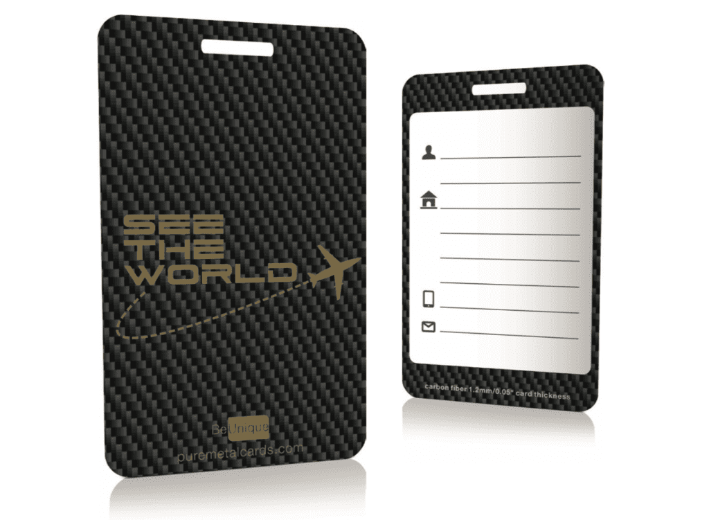 Pure Metal Cards carbon fiber luggage tag