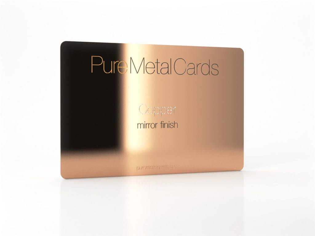 Pure Metal Cards mirror copper business card