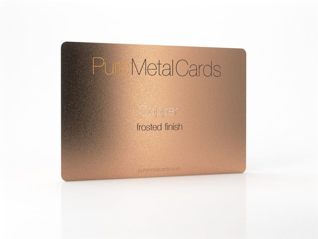 Pure Metal Cards frosted copper business card